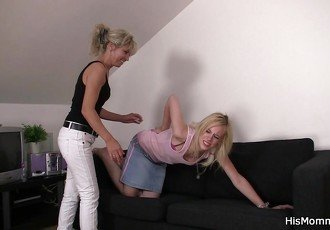 Lesbian mom teaching blonde teen
