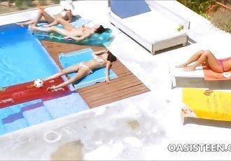 Crazy lesbian girls at a pool party