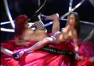Lesbian fuck a double dildo in a
