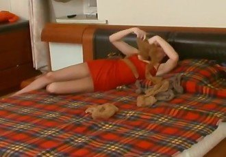 Pantyhose lezza sex toy play - she