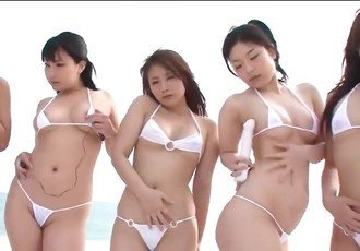 Japanese lesbian orgy on the beach