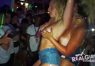 Teens party in panties
