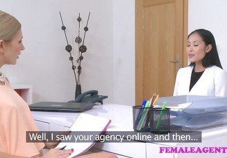 Female Agent Sexy asian model licks