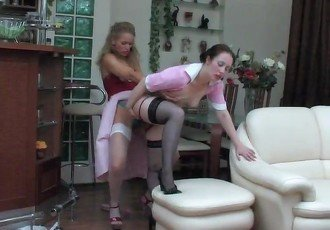 Mistress fucks maid servant with
